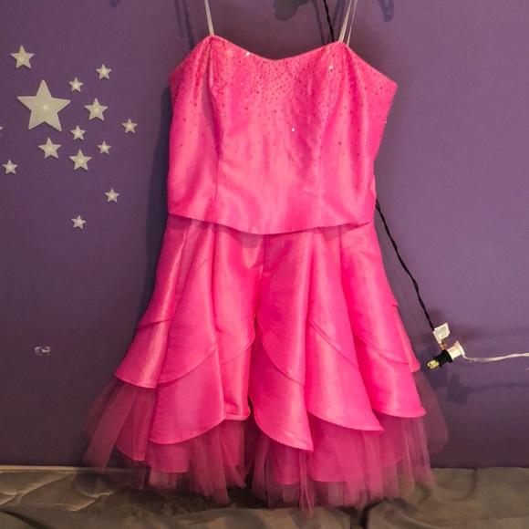 Hot Pink Short Puffy Dress
